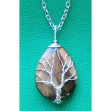 Tree of Life Crystal Gem Pendant / Necklace - Tigers Eye