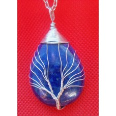 Tree of Life Crystal Gem Pendant / Necklace - Lapis Lazuli