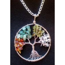 Tree of Life Crystal Gem Pendant / Multi Gems